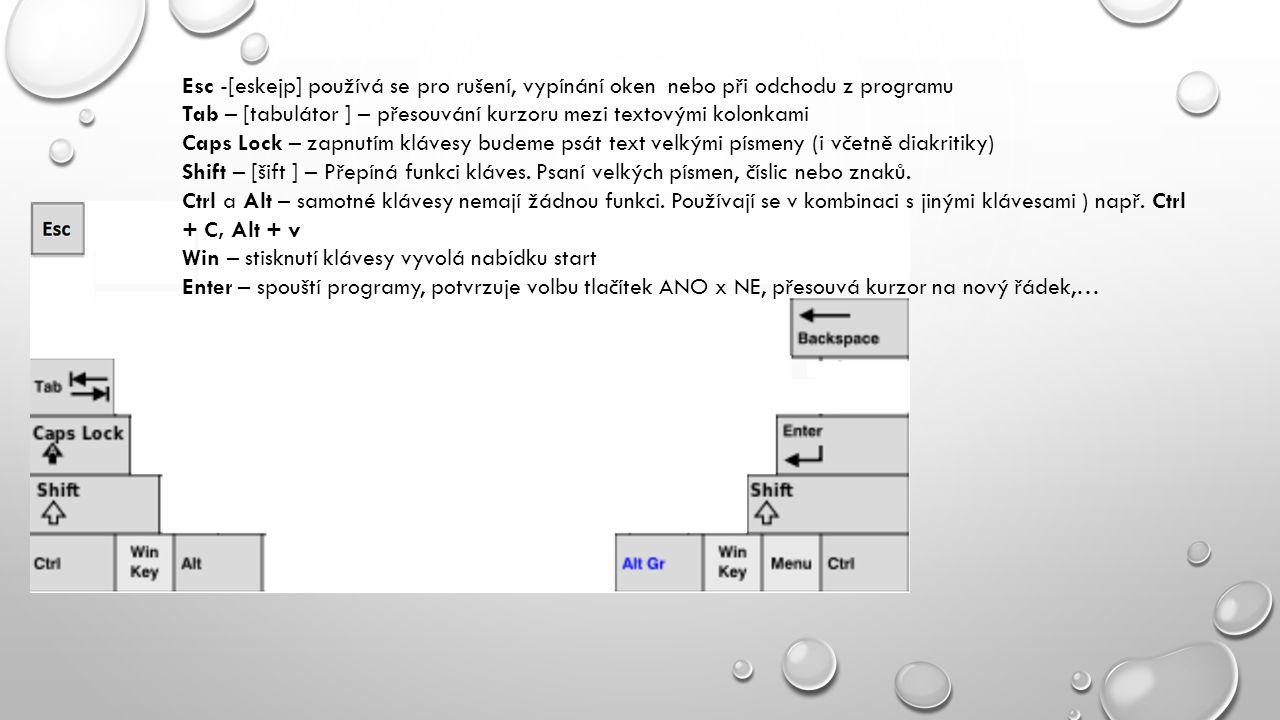 Esc -[eskejp] používá se pro rušení, vypínání oken nebo při odchodu z programu